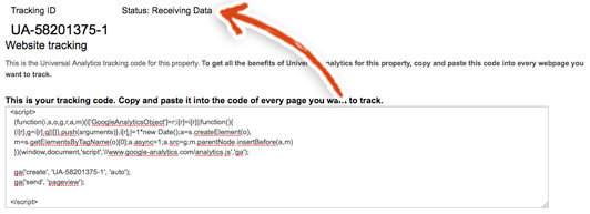google-analytics-tracking-code-receiving-data