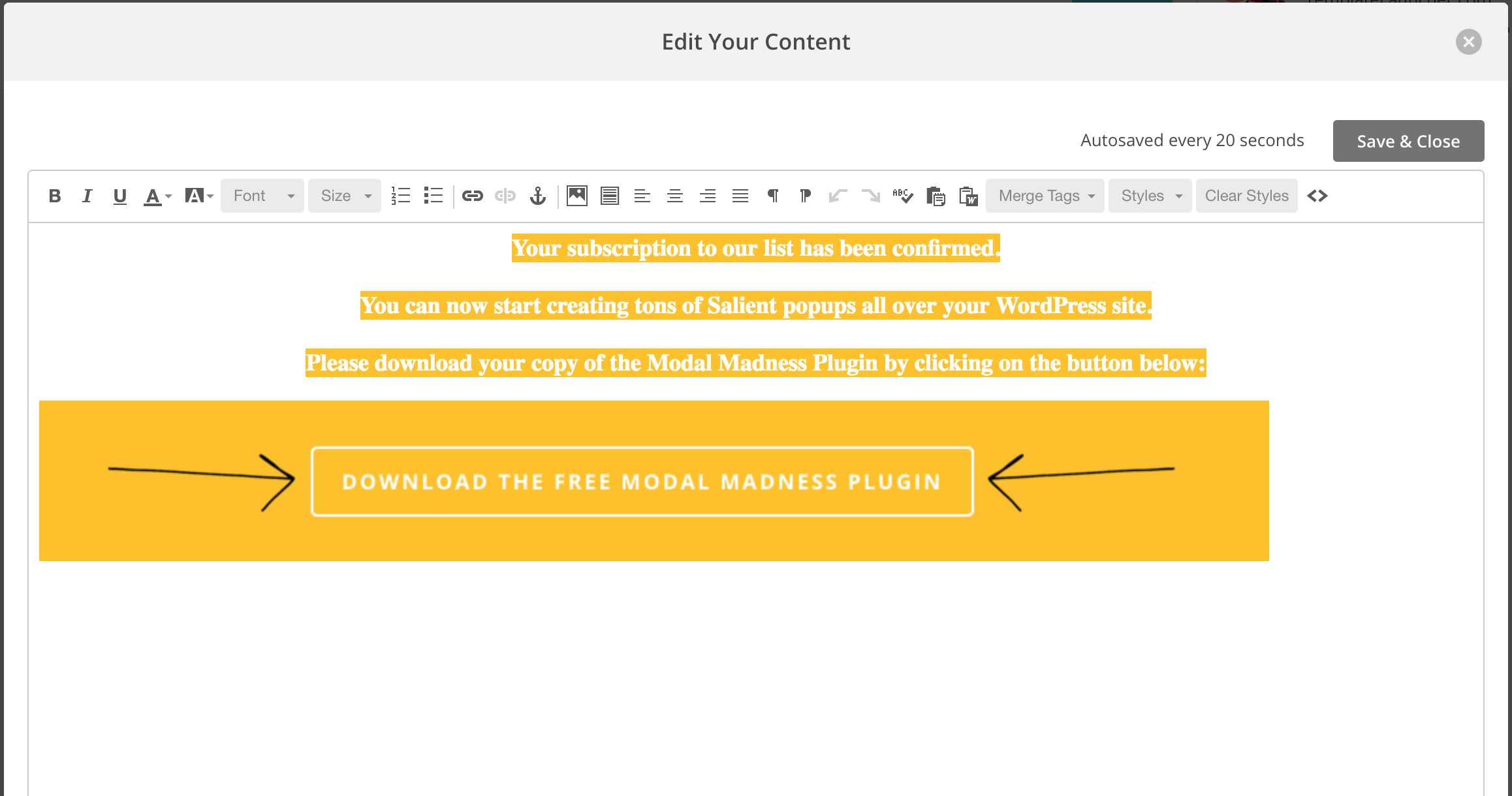Email List Building with WordPress, MailChimp and Salient